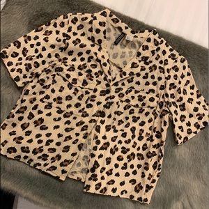 Leopard short sleeve button up top